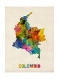 Colombia Watercolor Map Reprodukcja zdjęcia autor Michael Tompsett
