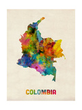 Colombia Watercolor Map Fotografiskt tryck av Michael Tompsett