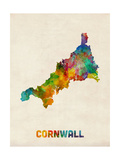 Cornwall England Watercolor Map Photographic Print by Michael Tompsett