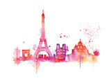 Paris Skyline Giclee Print by Summer Thornton
