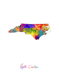 North Carolina Map Photographic Print by Michael Tompsett