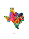 Texas Map Photographic Print by Michael Tompsett