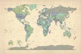 Political Map of the World Map Plakat av Michael Tompsett