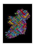 Ireland Eire City Text map Photographic Print by Michael Tompsett