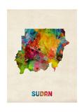 Sudan Watercolor Map Fotografisk tryk af Michael Tompsett