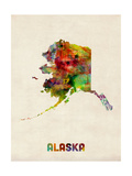 Alaska Watercolor Map Photographic Print by Michael Tompsett