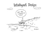"Intelligent Design -- a fish walks on to land, and thinks ""How can I monet… - New Yorker Cartoon Premium Giclee Print by Ken Krimstein"