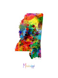 Mississippi Map Photographic Print by Michael Tompsett