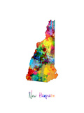 New Hampshire Map Photographic Print by Michael Tompsett