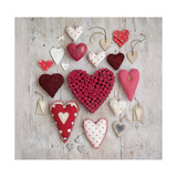 Red & White Hearts Giclee Print by Howard Shooter