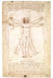 Leonardo da Vinci - Vitruvian Man 1492 Leonardo Da Vinci Art Poster - Reprodüksiyon