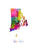 Rhode Island Watercolor Map Fotodruck von Michael Tompsett
