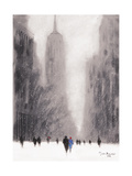 Heavy Snowfall, 5th Avenue - New York Giclee Print by Jon Barker
