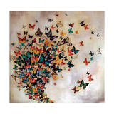 Butterflies on Pale Ochre Giclee Print by Lily Greenwood