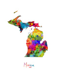 Michigan Map Photographic Print by Michael Tompsett
