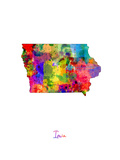 Iowa Map Photographic Print by Michael Tompsett