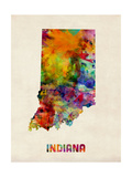 Indiana Watercolor Map Photographic Print by Michael Tompsett