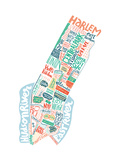 New York Map Giclee Print by Benoit Cesari