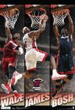 Miami Heat Big 3 Team Nba Sports Poster Plakater