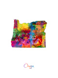 Oregon Map Photographic Print by Michael Tompsett