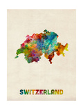 Switzerland Watercolor Map Photographic Print by Michael Tompsett