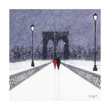 Nighttime Stroll across Brooklyn Bridge - New York Giclee Print by Jon Barker