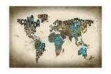 Paint Splashes Text Map of the World Photographic Print by Michael Tompsett