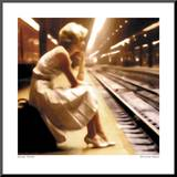 Girl at the Station Mounted Print by George Thomas