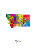 Montana Map Photographic Print by Michael Tompsett
