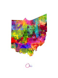 Ohio Map Poster by Michael Tompsett