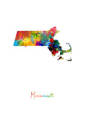 Massachusetts Map Photographic Print by Michael Tompsett