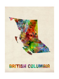 British Columbia Watercolor Map Photographic Print by Michael Tompsett