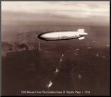 USS Macon over the Golden Gate and Pacific Fleet, 1934 Mounted Print by Clyde Sunderland