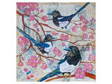 Magpies And Pink Blossoms Poster