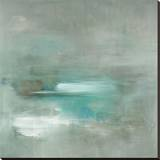 Misty Pale Azura Sea Stretched Canvas Print by Heather Ross