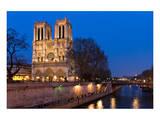 Notre Dame River Seine at Dusk Print