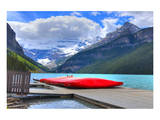 Canoes On Lake Louise Banff AB Prints