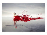 Dress Melting In Red Paint Posters