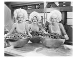 Three Women Bowls of Donuts Prints