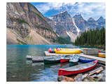 Canoes Moraine Lake Banff Park Prints
