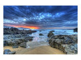 Seaside Sunset Dramatic Sky Posters