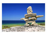 Inukshuk On Georgian Bay Shore Prints