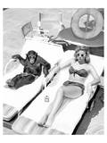 Chimpanzee & Woman Sunbathing Poster