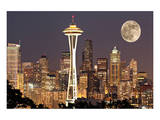 Lights on in Seattle Full Moon Print