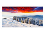 Sunset Winter Mountain Landsc. Posters