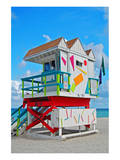 Art Deco Lifeguard Hut Florida Poster