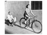 Woman on Bicycle Man Tricycle Prints