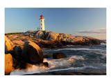 Peggys Cove Lighthouse sunset Posters
