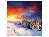 Sunset with Winter Mountains Posters