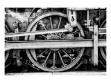 Steam Locomotive Wheels B&W Pósters
